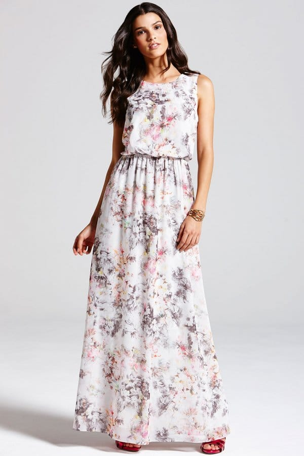 Product photo of Grey blurred floral print maxi dress