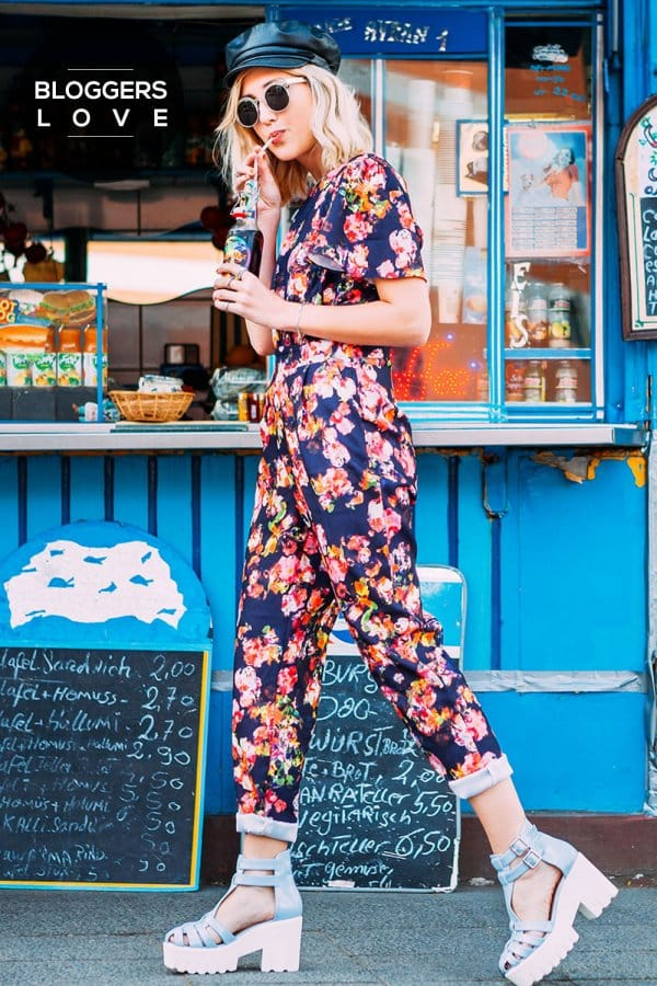 Product photo of Navy kaleidoscope floral jumpsuit