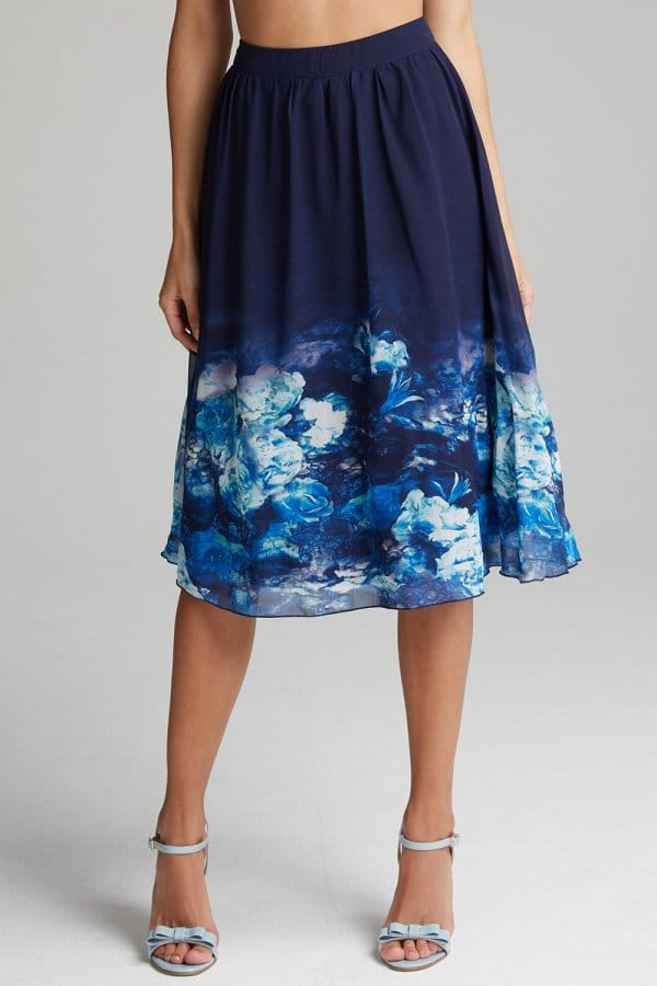 Product photo of Navy floral aline skirt