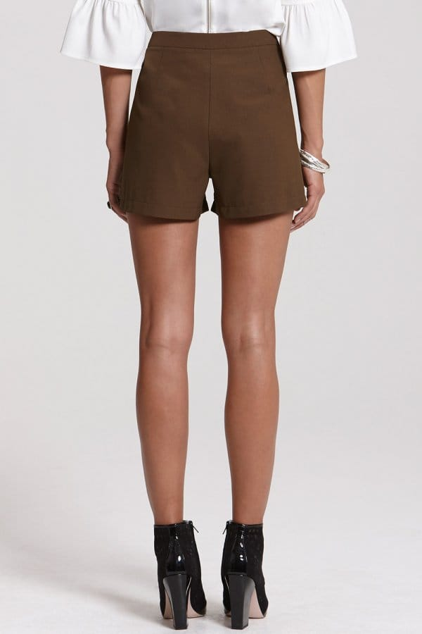 outlet girls on film high waisted khaki button shorts. Black Bedroom Furniture Sets. Home Design Ideas