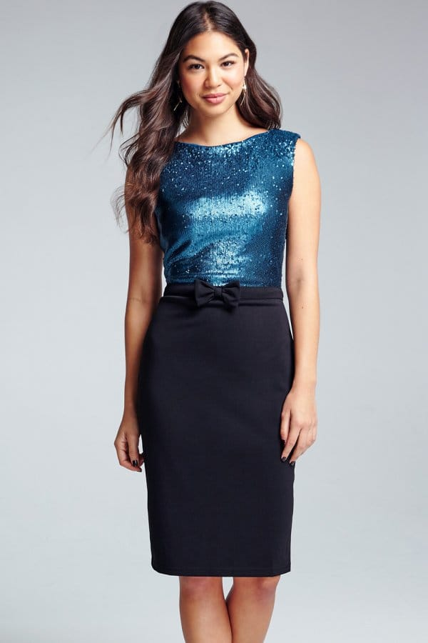 Product photo of Teal sequin top dress