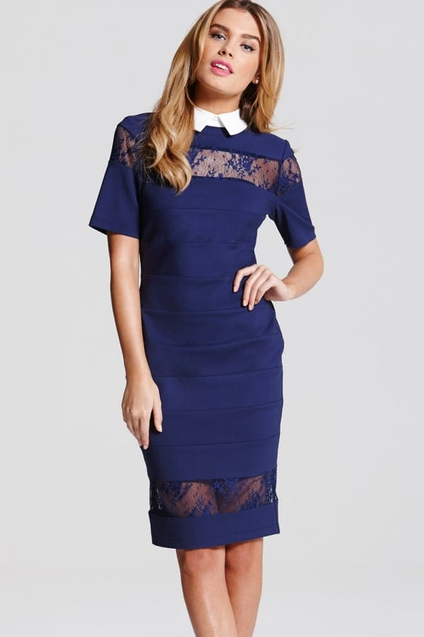 Product photo of Navy lace collar dress