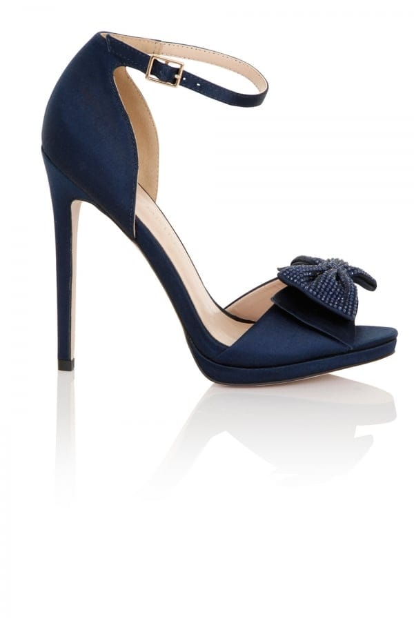Women's Footwear Hera Navy Satin Heeled Sandals with Bow