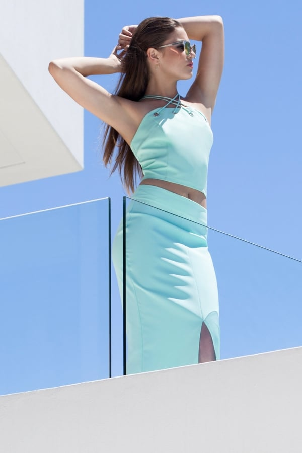 Aqua Blue Pencil Skirt