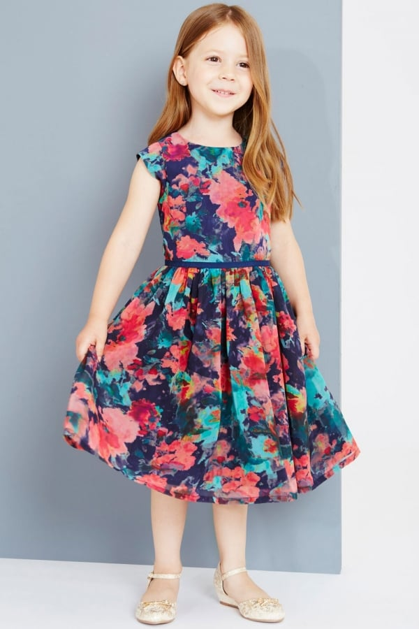 Autumn Flower Print Prom Dress