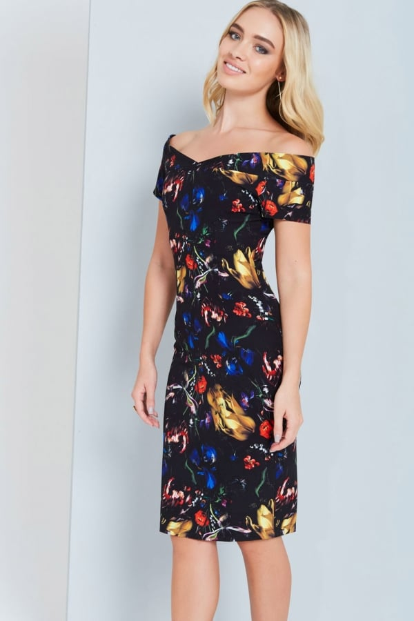 Abstract Floral Print Bardot Dress