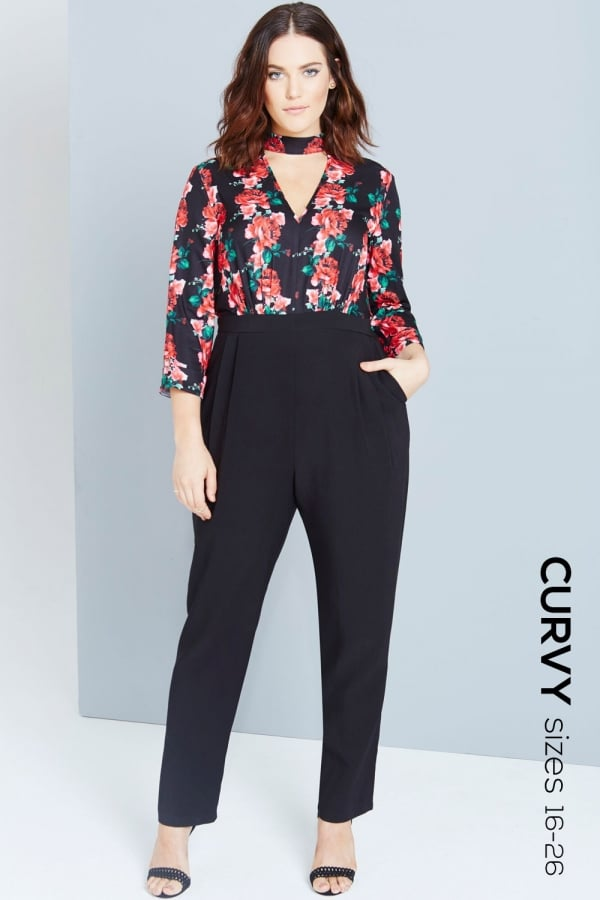 Rose Print Jumpsuit With Keyhole