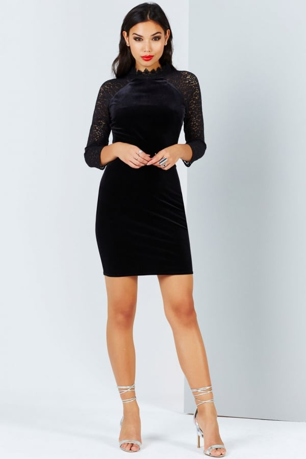 Black Velvet And Lace Bodycon Dress