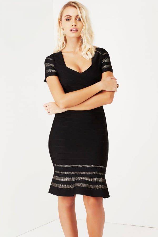 Black Bandage Bodycon With Mesh Panels