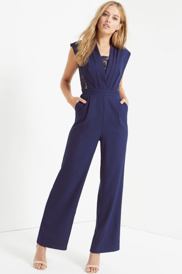 Navy Pleat Jumpsuit With Lace
