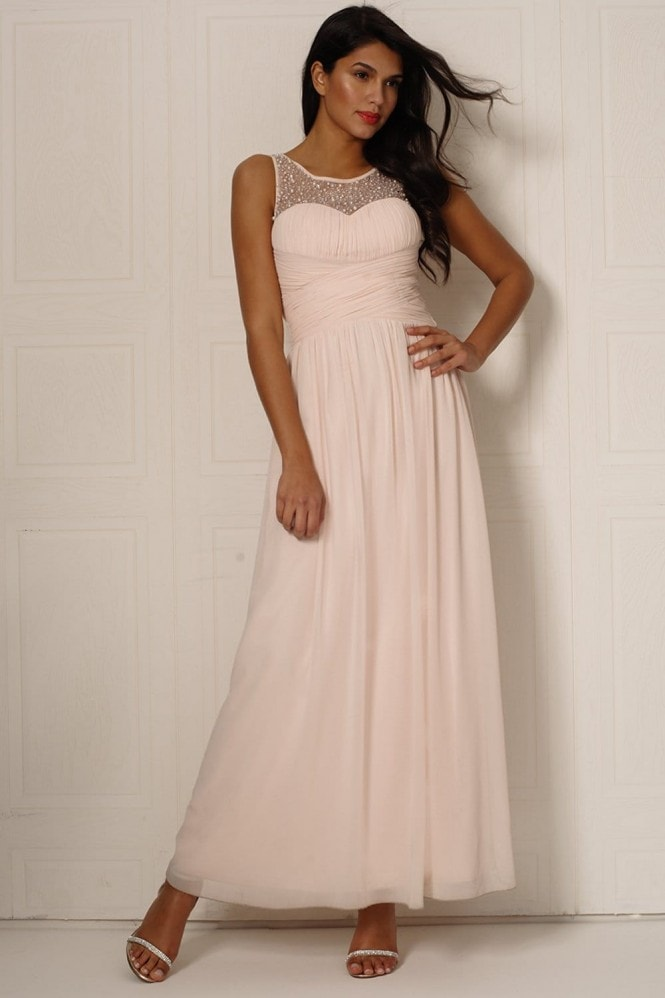Little Mistress Nude One Shoulder Maxi Dress - Outlet from