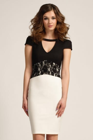 Black & White Lace Middle Panel Cap Sleeve Bodycon Dress