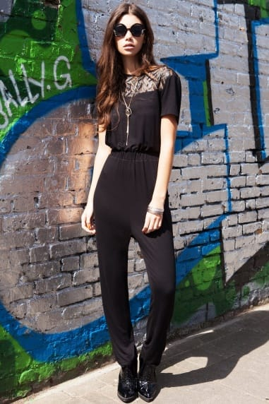 Black Mesh Panel Cut Out Back Exposed Jumpsuit