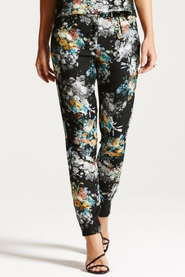 Textured Floral Jacquard Trousers