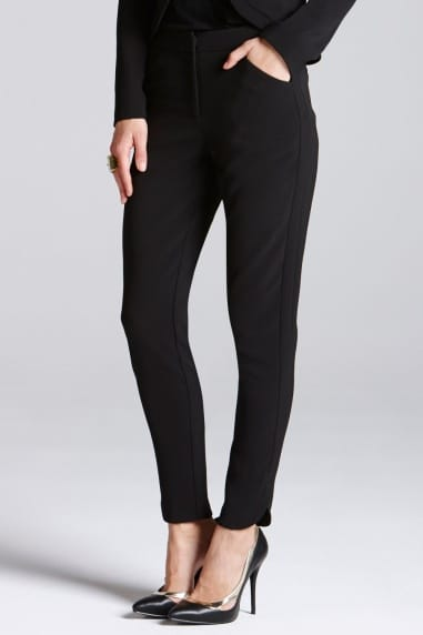Black Tapered Curve Ankle Trousers