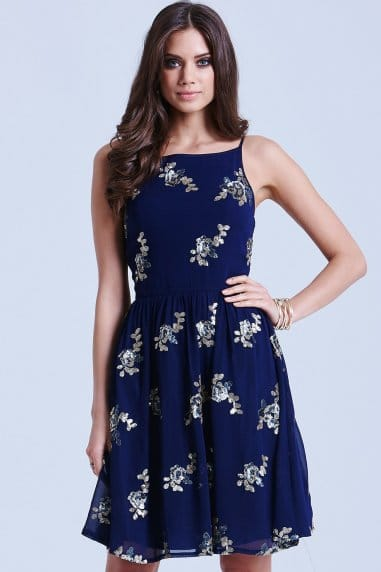 Navy Sequinned Floral Strap Dress