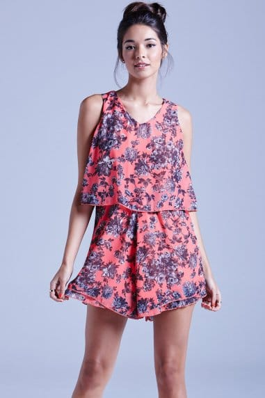 Coral Floral Chiffon Playsuit