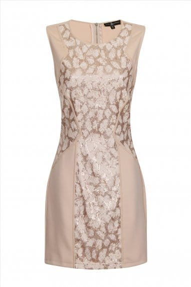 Cream And Gold Panelled Detail Bodycon Dress