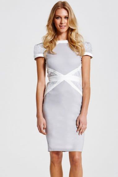 Grey and White Lace Insert Dress