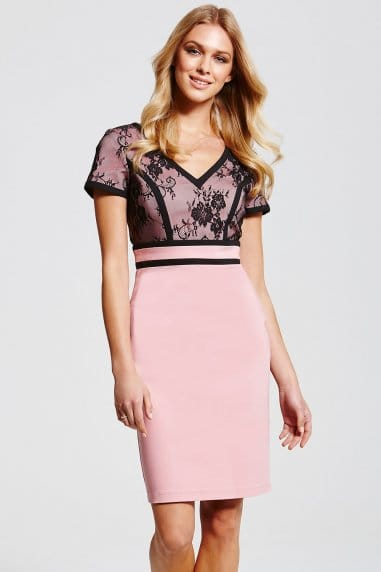 Pink and Black Lace Top Dress