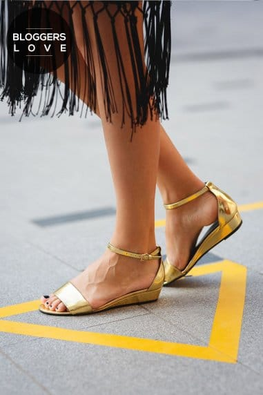 Gold Strap Wedge Sandals