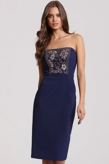 Navy Sequin Embellished Bodycon