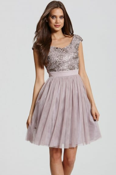 Mink and Gold Sequin Fit and Flare Dress