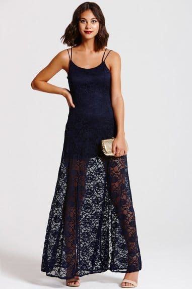 Navy Lace Maxi Crossover Back Dress