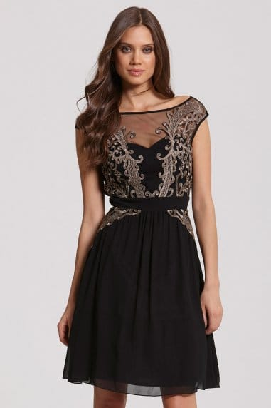 Black and Gold Appliqué Fit and Flare Dress