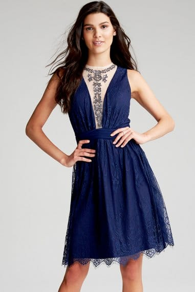 Navy Embellished Mesh Prom Dress