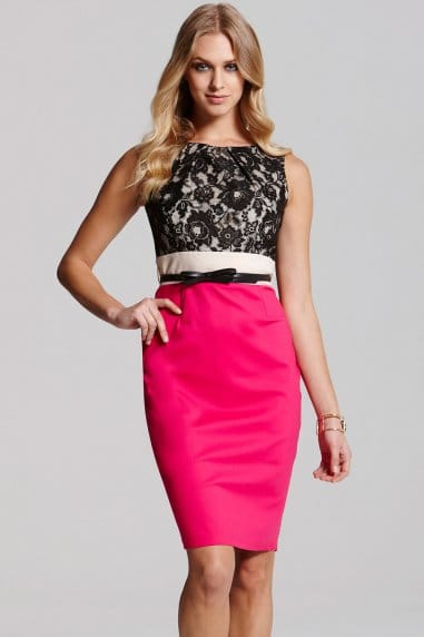 Pink and Black Lace Contrast Dress