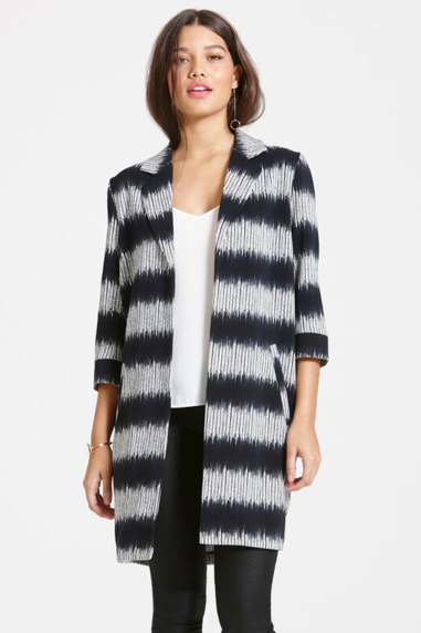 Girls on Film Grey And Black Stripe Jacket With 3/4 Sleeves
