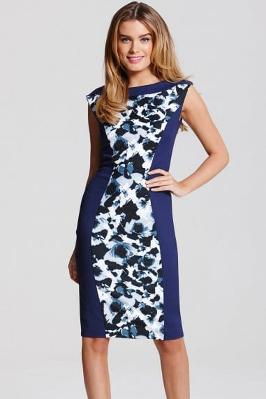 Paper Dolls Two Tone Floral Print Panel Dress