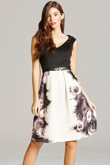 Little Mistress Rose Print Fit and Flare Dress