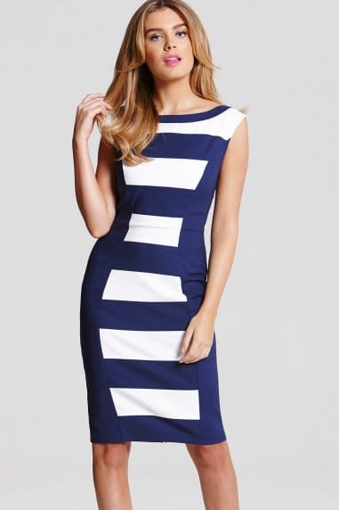 Paper Dolls Navy and Cream Stripe Panel Dress