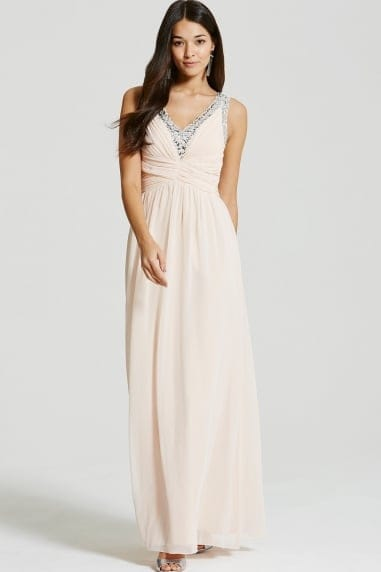 Little Mistress Nude Embellished Plunge Maxi Dress