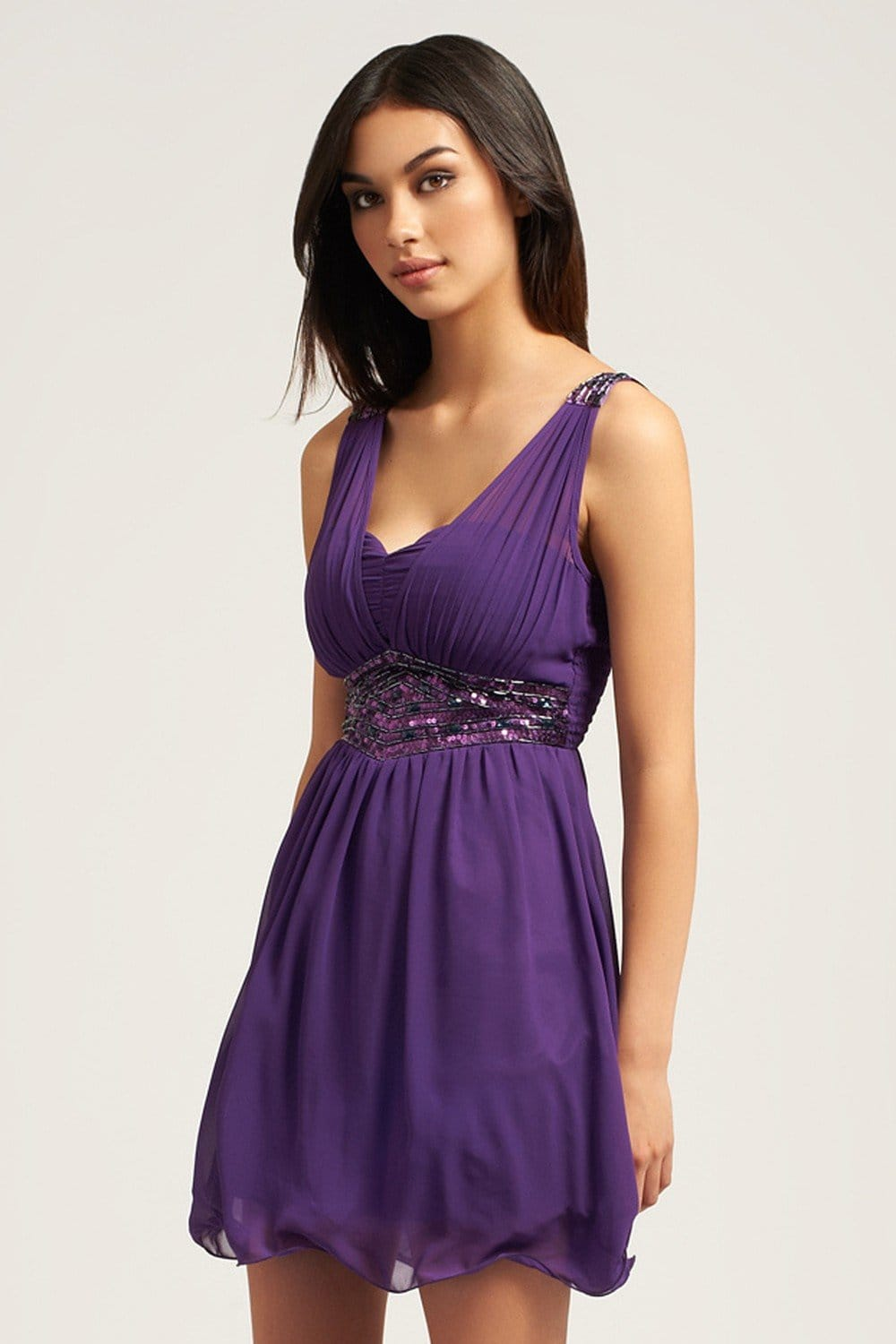 14 50 Outlet >> Little Mistress Purple Embellished Chiffon Overlay Dress