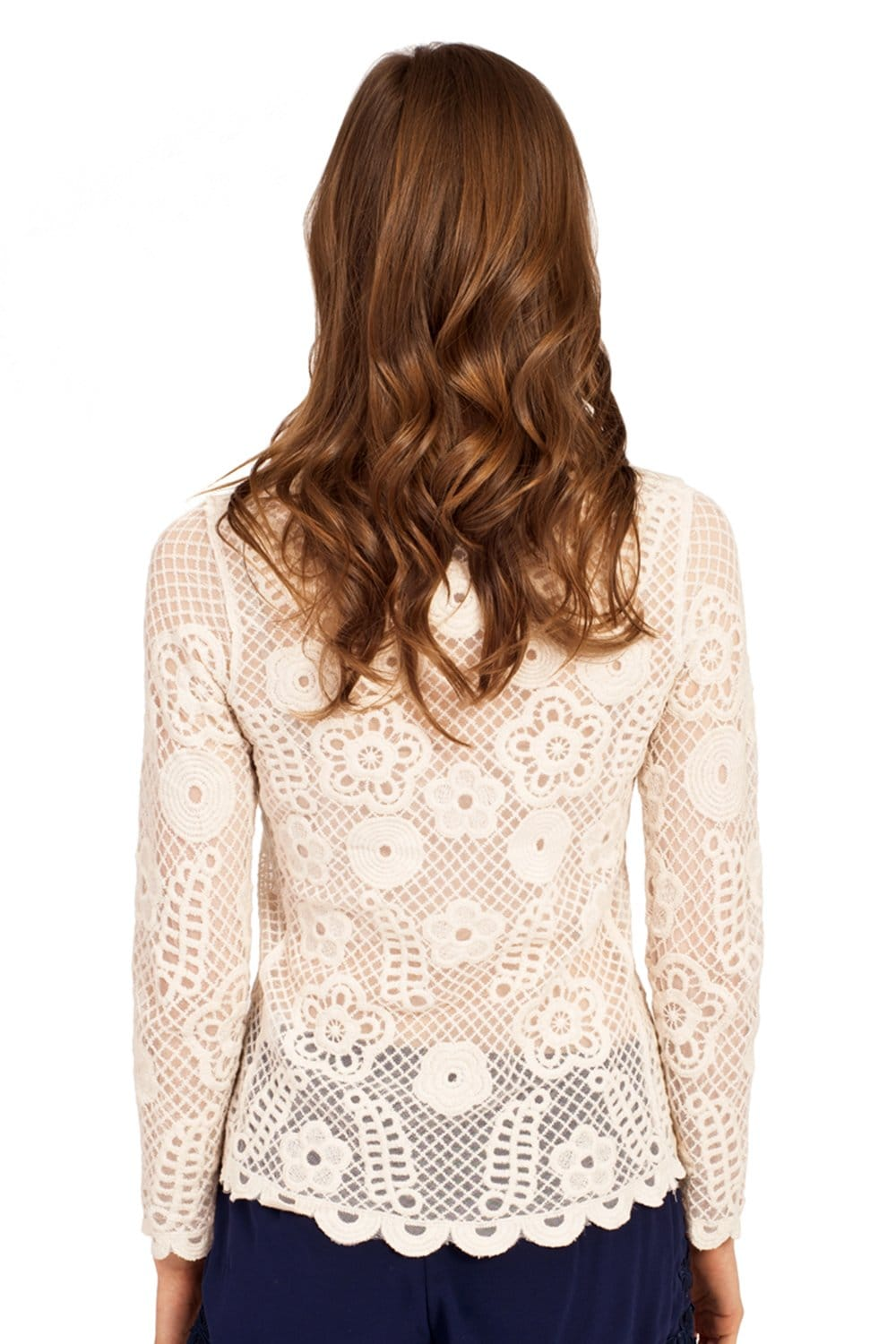 Beige Lace Detail Long Sleeve Top