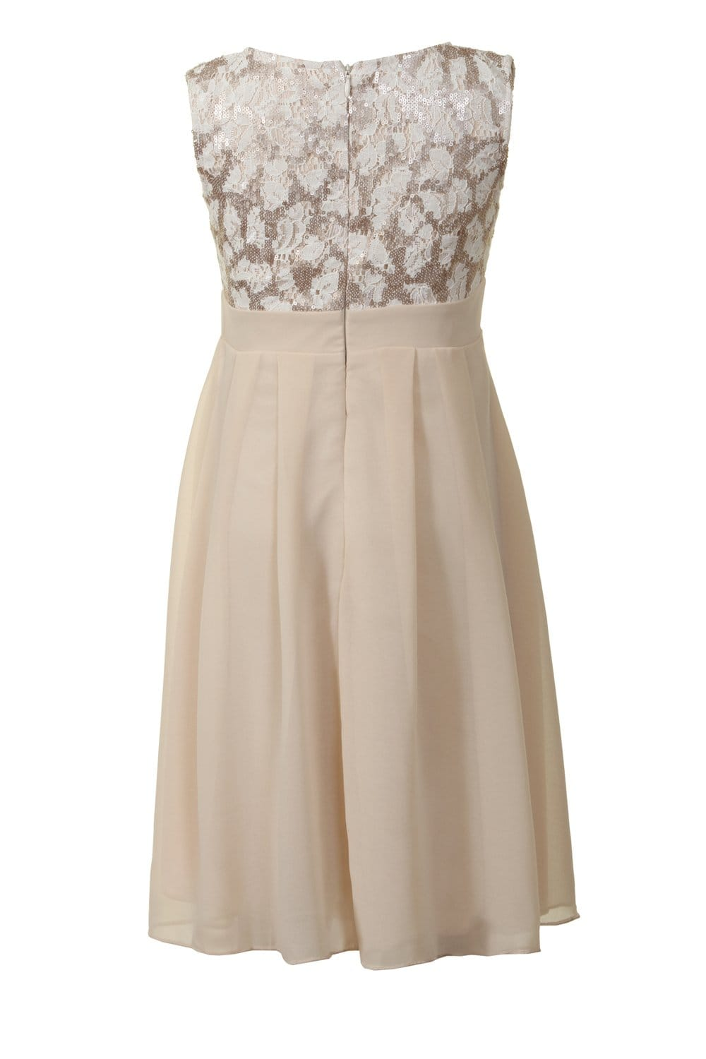 Cream And Gold Sequin & Chiffon Dress