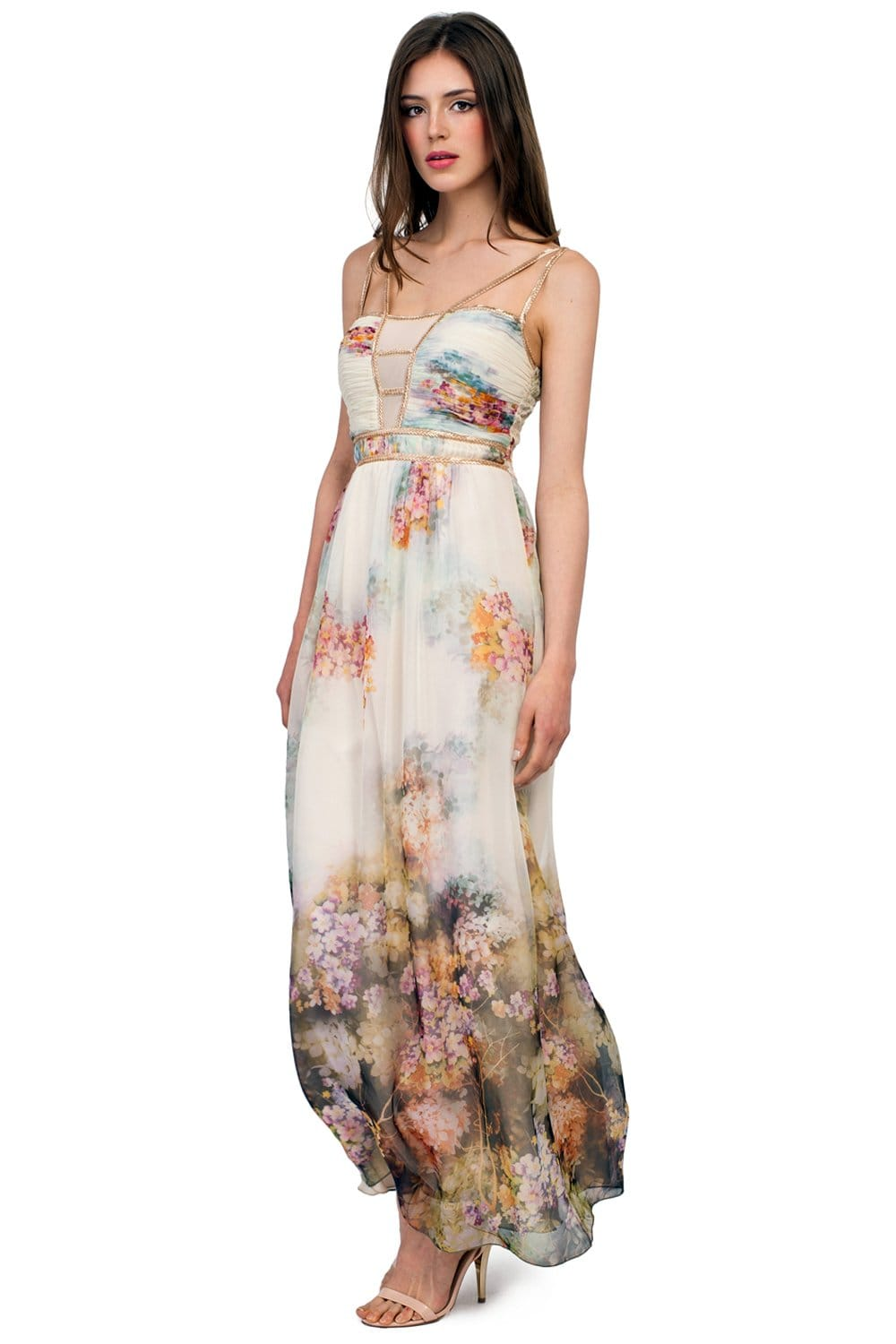 Light Blue Multi Print Floral Embellished Chiffon Maxi Dress