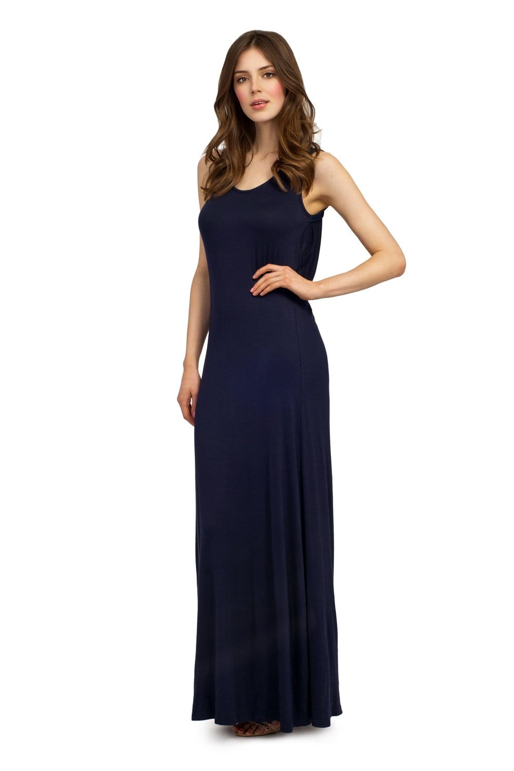 Navy keyhole back bow detail jersey maxi dress - Dressing modellen ...