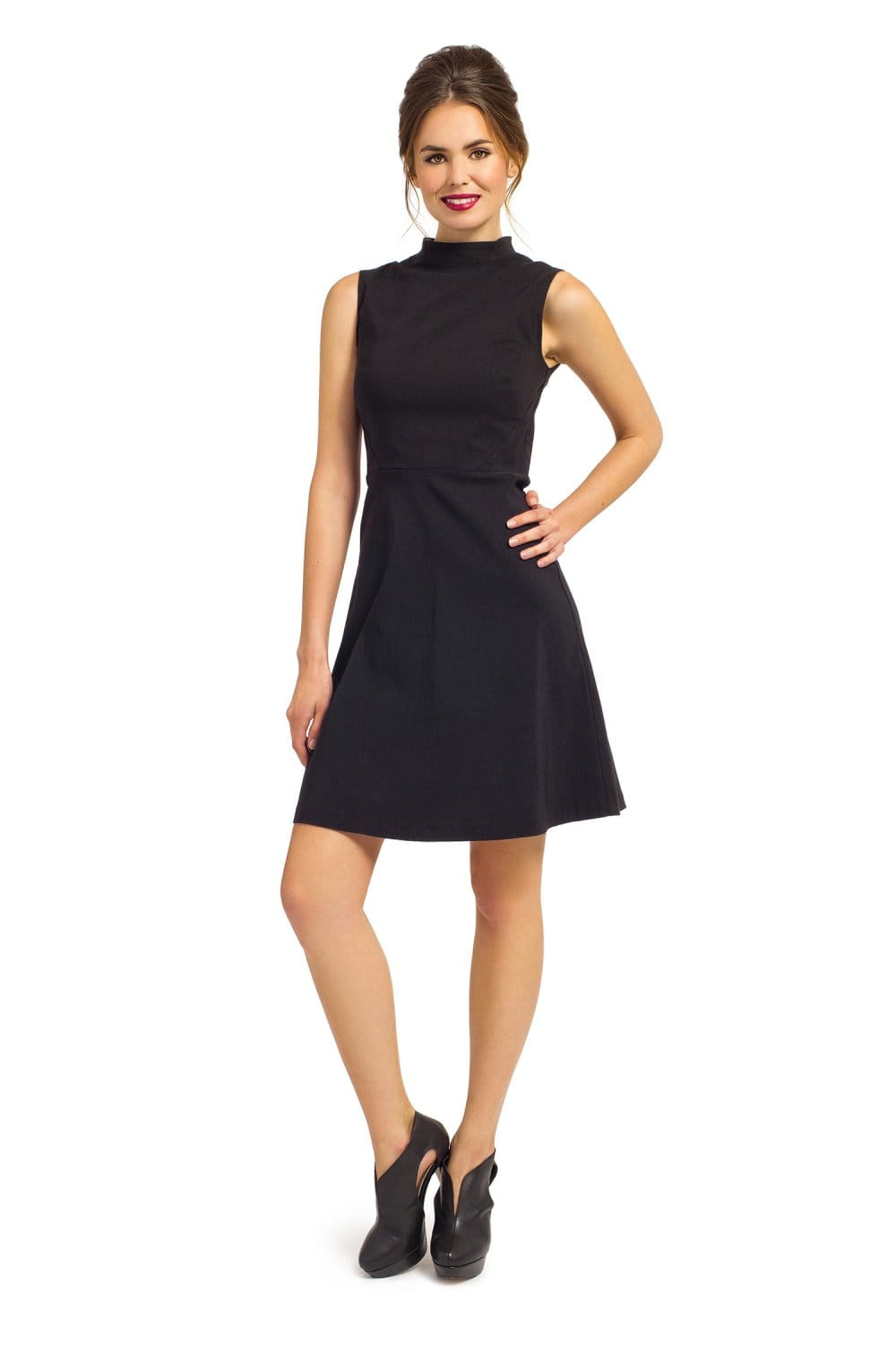 Black Sleeveless High Neck Statement Zip Fit Amp Flare Dress