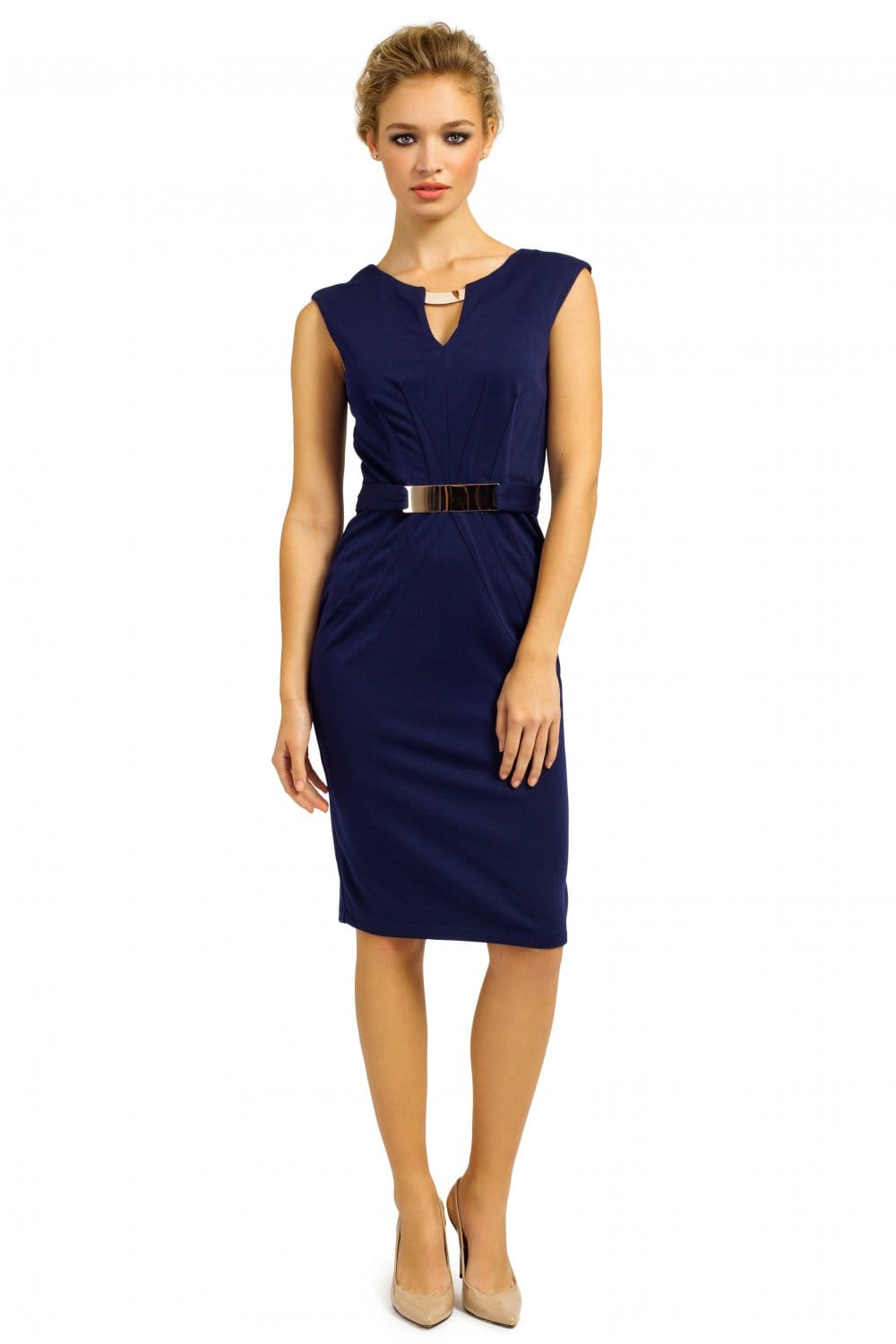 Navy Gold Chocker Amp Gold Belted Pencil Dress