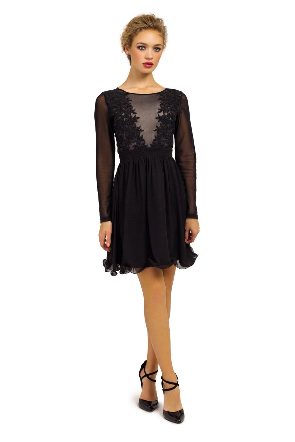 Black Long Sleeve Sheer Applique Detail Fit And Flare Dress