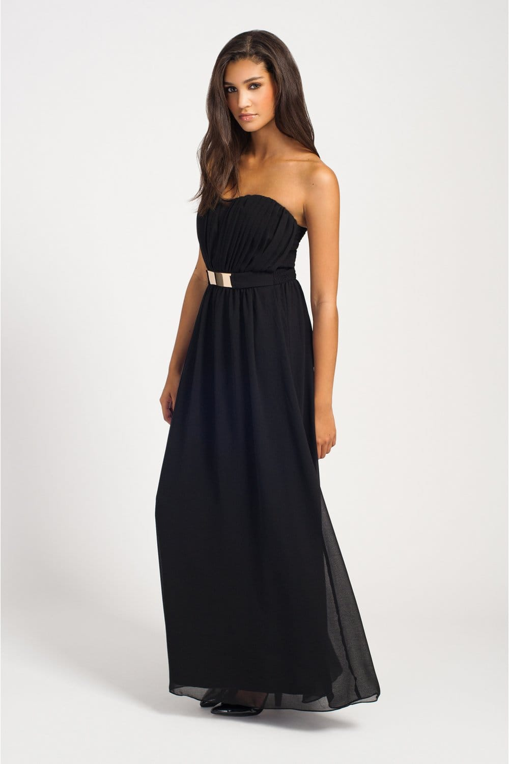 black pleated belted bandeau chiffon maxi dress