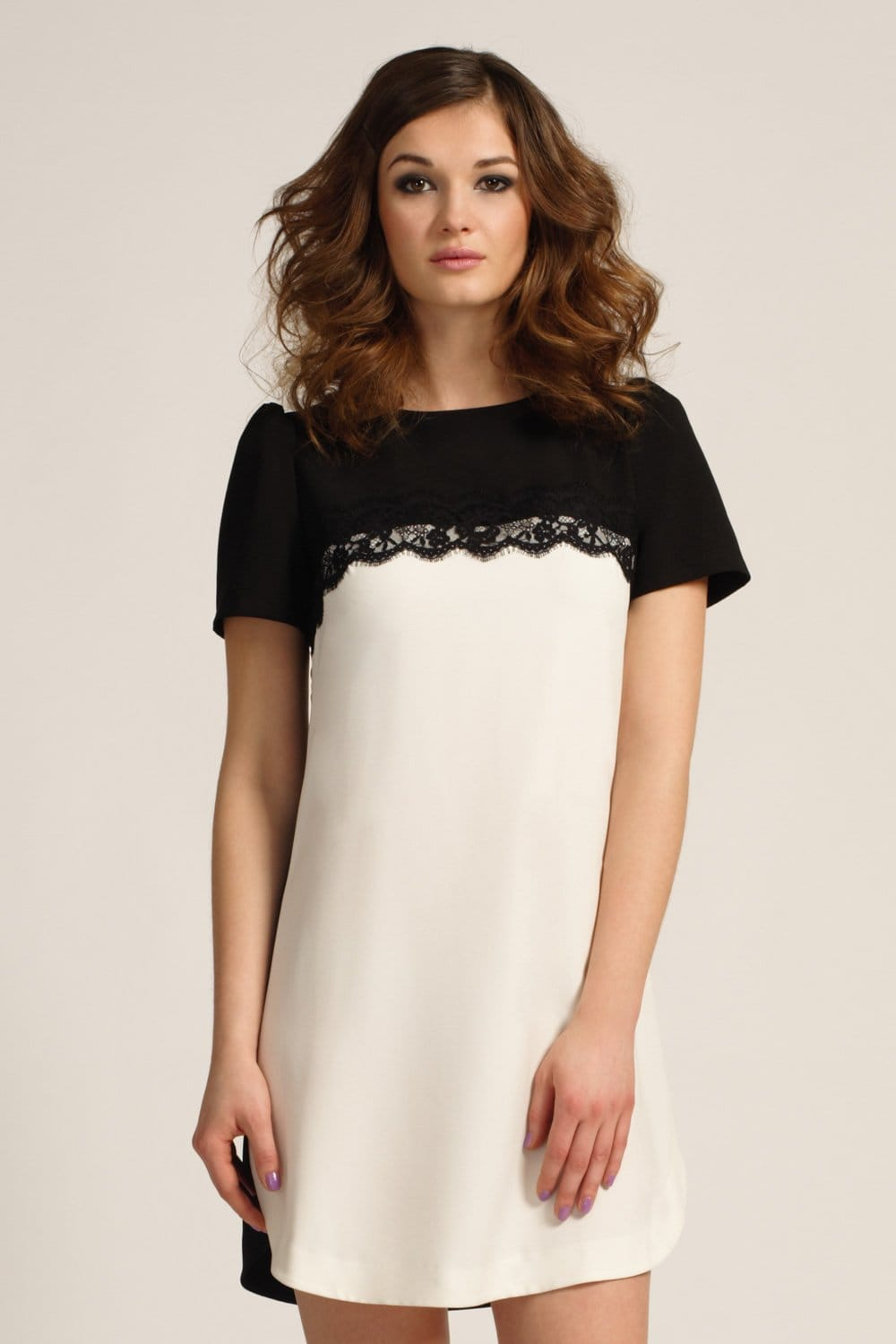 Black Amp White Floral Lace Detail Shift Dress