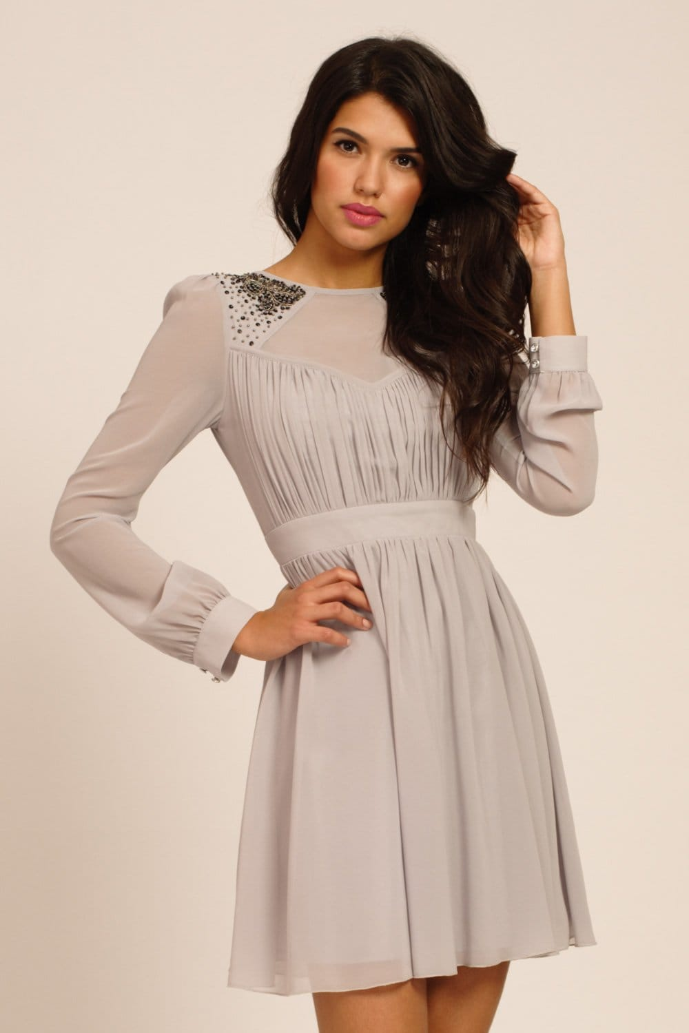 Grey Embellished Long Sleeve Fit Amp Flare Dress