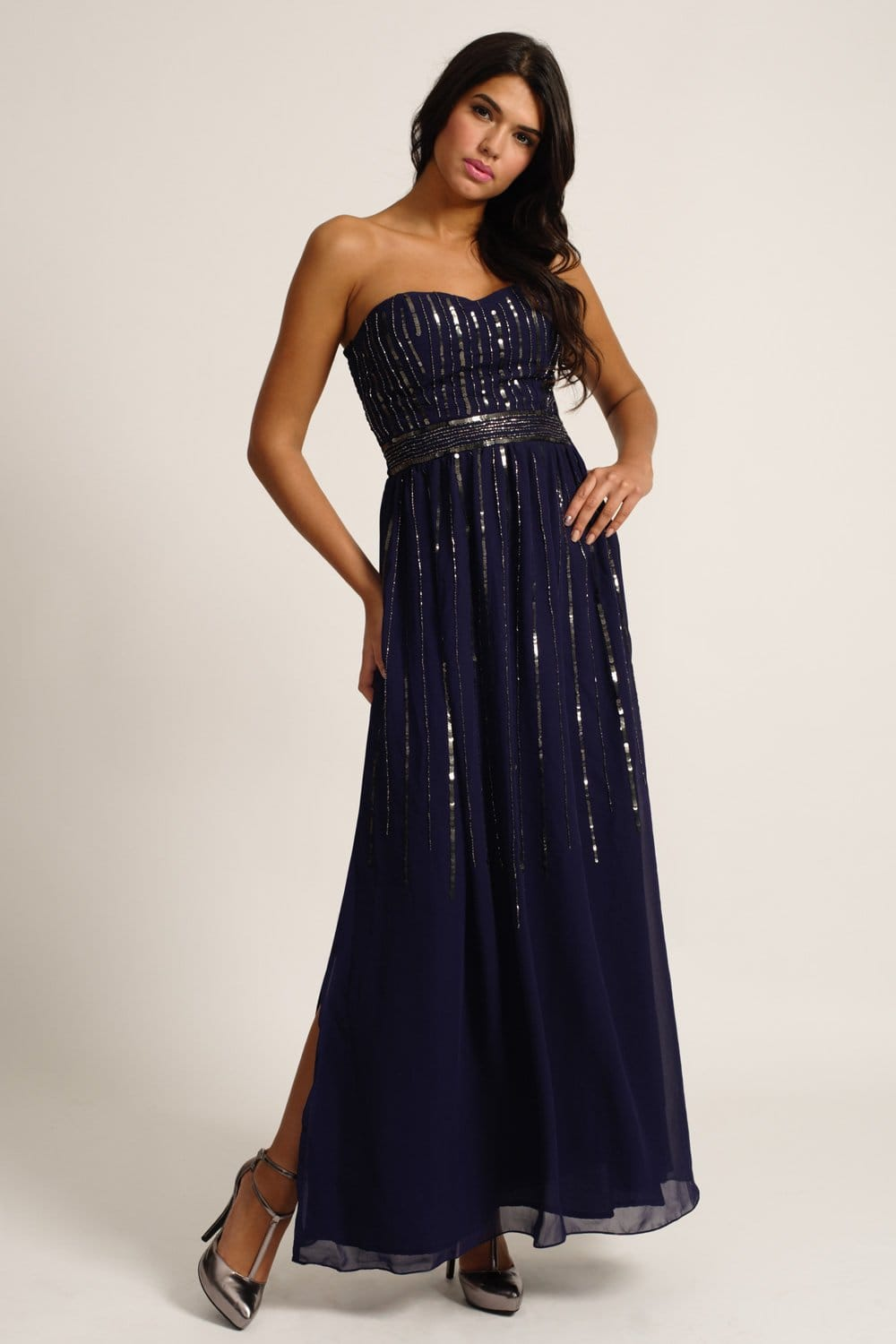 Midnight Blue Embellished Sequin Maxi Dress
