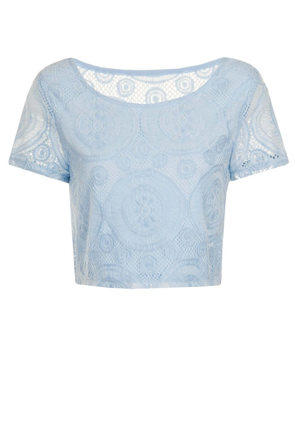 Outlet Girls On Film Nude Cap Sleeve Lace Overlay Crop Top