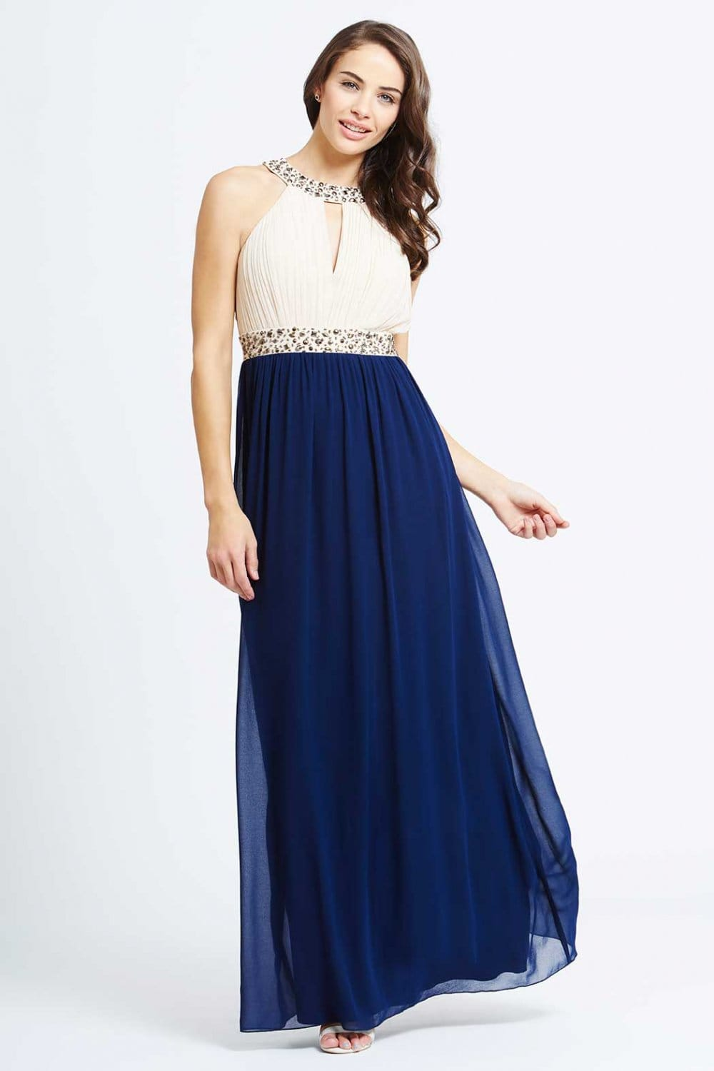 Little Mistress Cream And Navy Embellished Chiffon Maxi